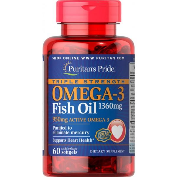 OMEGA 3 1360 mg trojna moč, 60 mehkih kapsul
